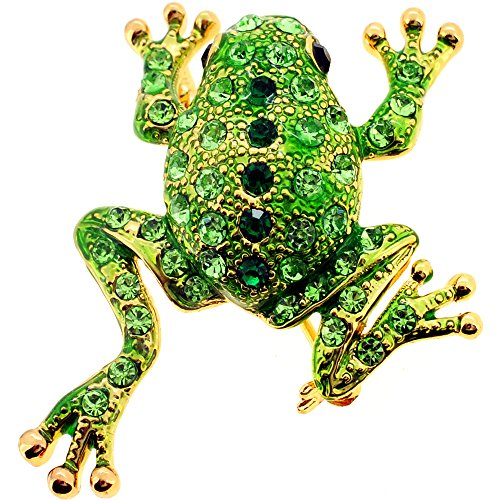 Green Frog Swarovski Crystal Animal Pin Brooch