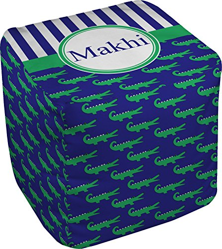 RNK Shops Alligators & Stripes Cube Pouf Ottoman - 13'' (Personalized) by RNK Shops