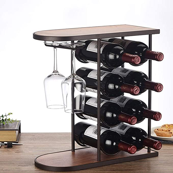 LXLA- Tablero De 8 Botellas Botellero De Almacenamiento De Vino, Soporte De Vino De 4 Niveles 2 Soporte De Exhibidor De Vidrio De Vino Decoraciones De Hogar ...