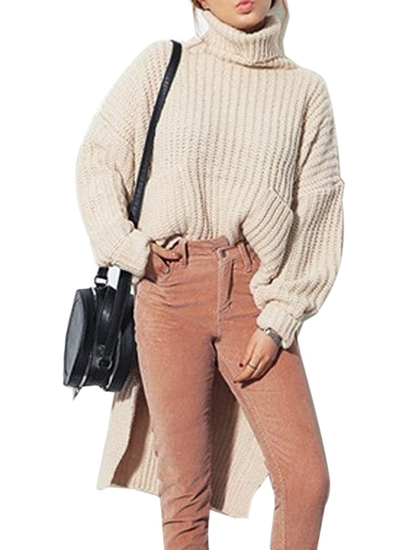 Clothink Women Beige and Gray Roll Neck Long Sleeve Plain Hi-lo Jumper