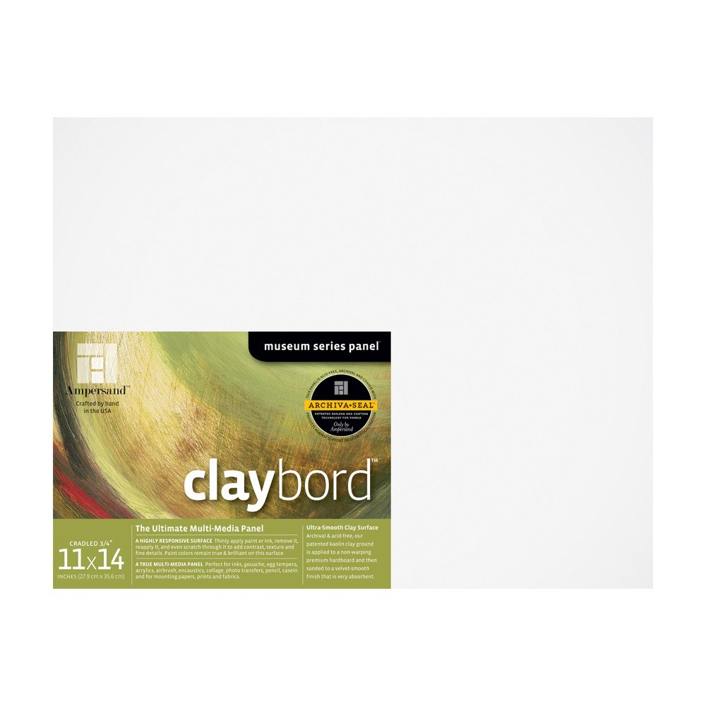 Ampersand Museum Series Claybord Panels for Paint and Ink, 3/4 Inch Depth Cradled, 11X14 Inch (CBSC11)