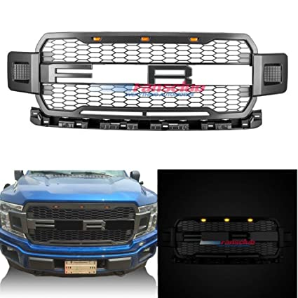Motorfansclub Led Grille Grill Front Bumper For Ford F150 2018 Raptor Style Honeycomb Grill With Led Light Gray