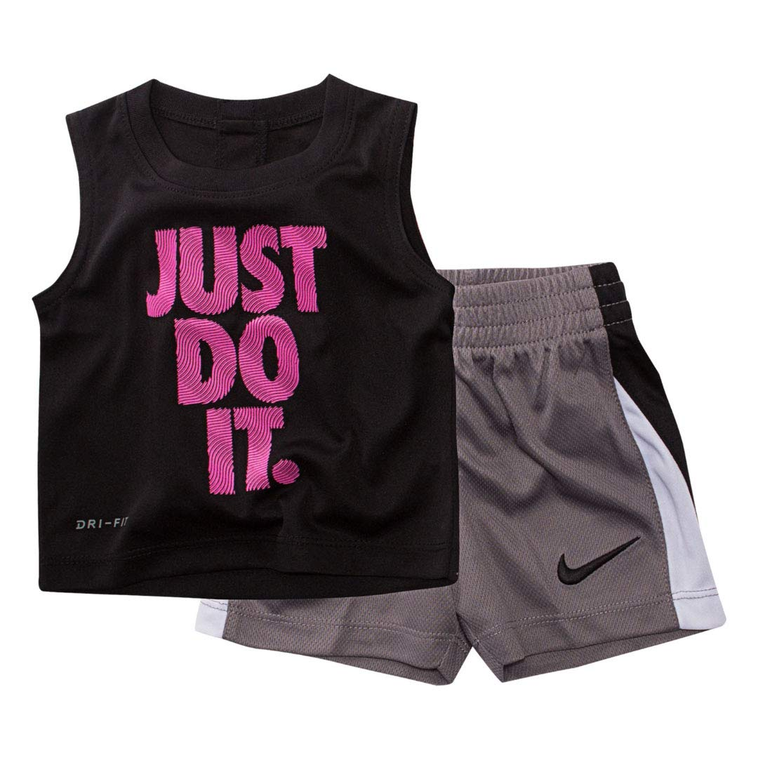 Nike Toddler Graphic Tee & Shorts Set (4T, Black)