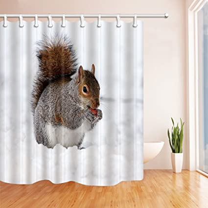 Squirrel Shower Curtain Eating In Snow Winter Cute Animal White Gray Bathroom Curtains 70 X