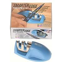 Smarter Edge Kitchen Knife Sharpener by Chef's Vision - Blue V-Shape 2 Stage Sharpener - Knife Honer Tool - Color…