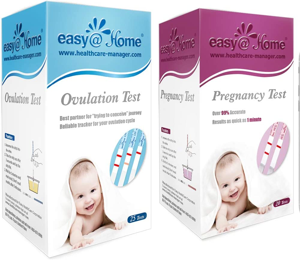 Easy@Home Ovulation Test and Pregnancy Test Kit, 25LH+20HCG Strips