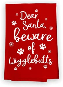 Honey Dew Gifts Funny Kitchen Towels, Dear Santa Beware Flour Sack Towel, 27 inch by 27 inch, Multi-Purpose Towel, Christmas Decor, Dog Mom Gifts