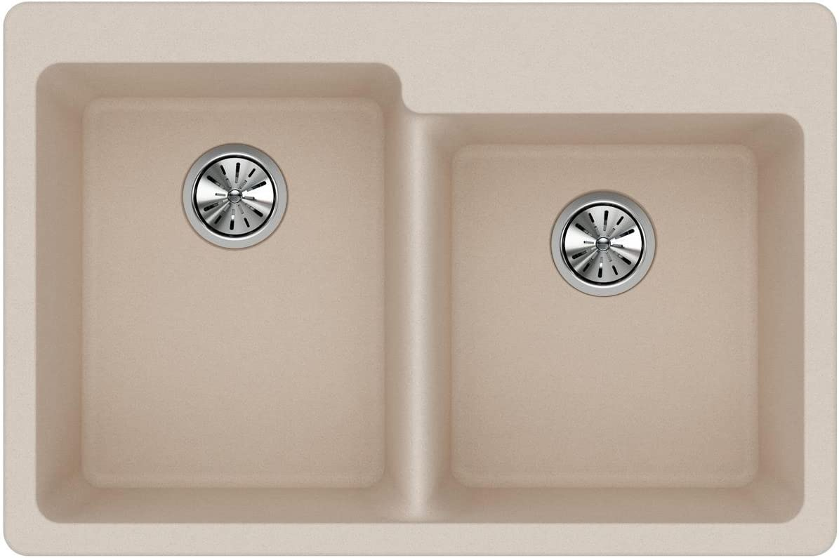 Elkay Quartz Classic ELG250RPT0 Putty Offset Double Bowl Top Mount Sink