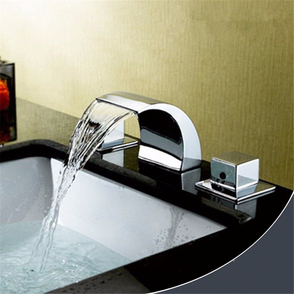 Lalaky Taps Faucet Kitchen Mixer Sink Waterfall Bathroom Mixer Basin Mixer Tap for Kitchen Bathroom and Washroom Split Led Waterfall Hot and Cold Water Ceramic Valve Three Holes Double Handle