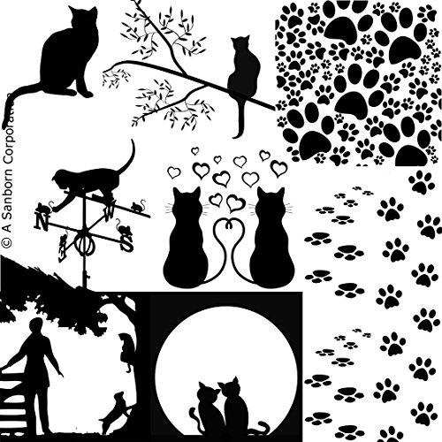 Cat Silhouettes Black Enamel Fusible -