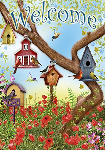 Toland Home Garden Poppies & Birdhouses 28 x 40 Inch Decorative Welcome Spring Summer Bird House (Birdhouses House Flag)