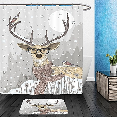 Halloween Mounted Deer Costume (Vanfan Bathroom 2?Suits 1 Shower Curtains & ?1 Floor Mats Cute hipster deer with scarf and glasses. Winter night christmas illustration_50134894 From Bath)