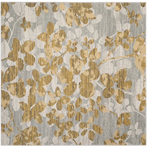 Safavieh Evoke Collection EVK236P Vintage Floral Grey and Gold Square Area Rug (6'7