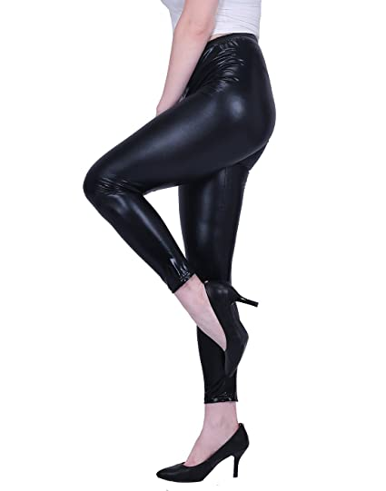 9ae476221a054 HDE Womens Shiny Leggings Metallic Clubwear Stretch Liquid Wet Look Skinny  Pants (Black, Small