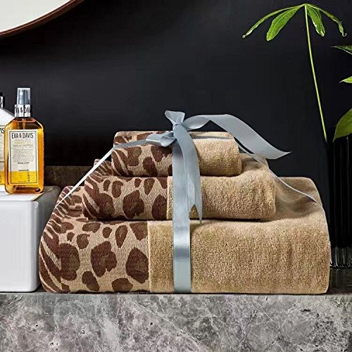 USTIDE 3-Piece Leopard Print Bath Towels Set Solid Cotton Hand Towels Super Soft and Water Absorption Towels Sets