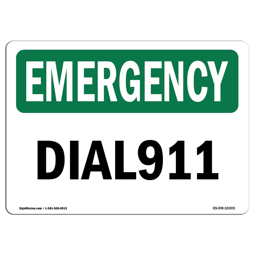 OSHA Emergency Sign - Dial 911 | Choose from: Aluminum, Rigid Plastic or Vinyl Label Decal | Protect Your Business, Construction Site, Warehouse & Shop Area |  Made in The USA