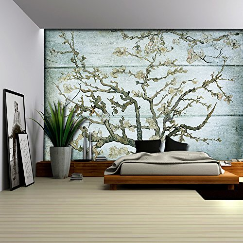 Almond Blossom Painting by Vincent Van Gogh on a Blue Wood Textured Background Wall Mural