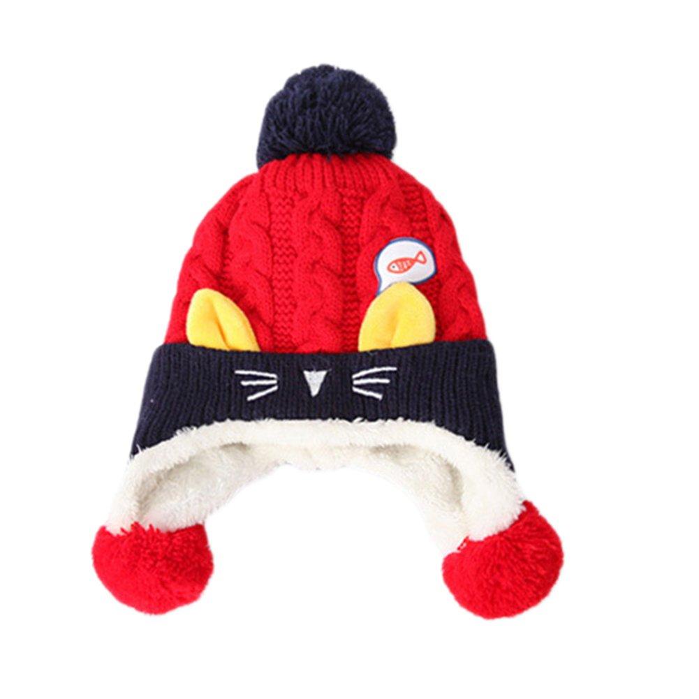 Hosaire 1pc Chapeau d'hiver bébé Chapeau d'hiver pour Enfants Bonnet Cinq étoiles en Tricot Bonnet Long Pull bébé Bonnet bébé Chapeau Enfant Cache-Oreilles Chapeau pour bébé Unisexe(Bleu)