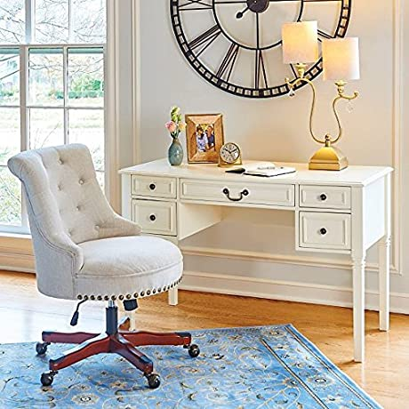 White Modern Writing Desk Perfect Stylish Chic Home Office Storage Work Table For Your Laptop Books Papers Documents And Accessories By The Entryway Or Living Room