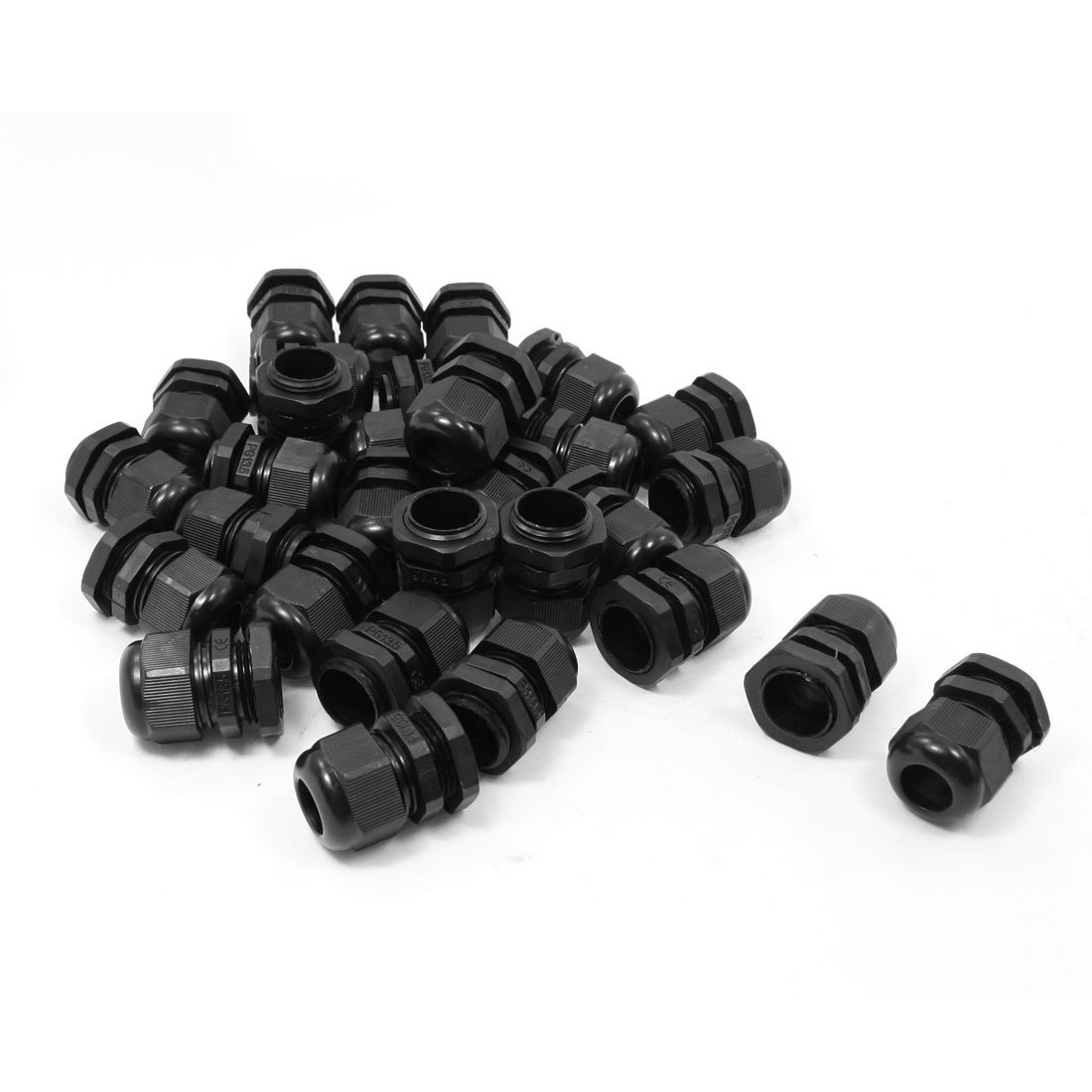 uxcell 30 Pcs PG13.5 Black Plastic 6mm to 12mm Dia Cable Glands Fastening Connector