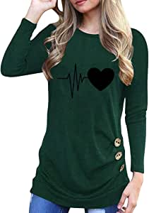 Luckycat Mujer Camiseta Manga Larga Empalme Blusa Tops otoño Invierno Ropa Blusa Mujer Manga Larga con Impresión del Corazón Camisas Elegante Shirts Color Sólido Camisetas Pullover Tops: Amazon.es: Relojes
