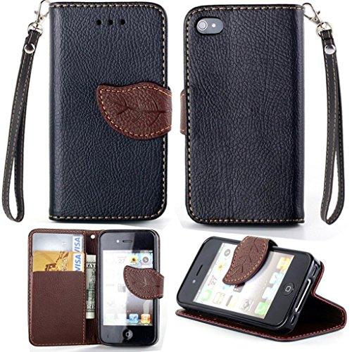 iPhone 4G/4S Hülle, Apple iPhone 4G/4S Hülle Lifetrut® [Schwarz] Flip Case mit lebenslanger Garantie + Kartenfächern & Standfunktion