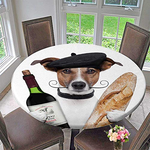 PINAFORE HOME Picnic Circle Table Cloths French Dog Wine Baguette Beret for Family Dinners or Gatherings 40
