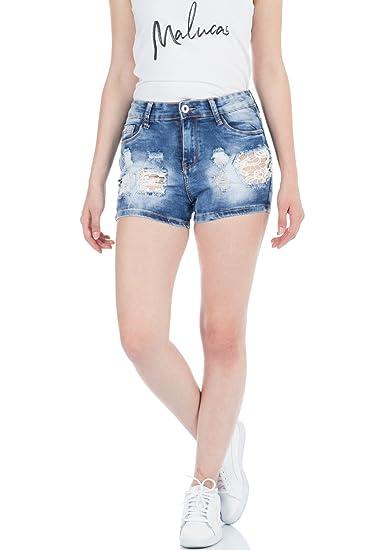 malucas Jeans - Taille Ajustée - Femme Bleu Bleu  Amazon.fr  Vêtements et  accessoires 86aaea3d4329