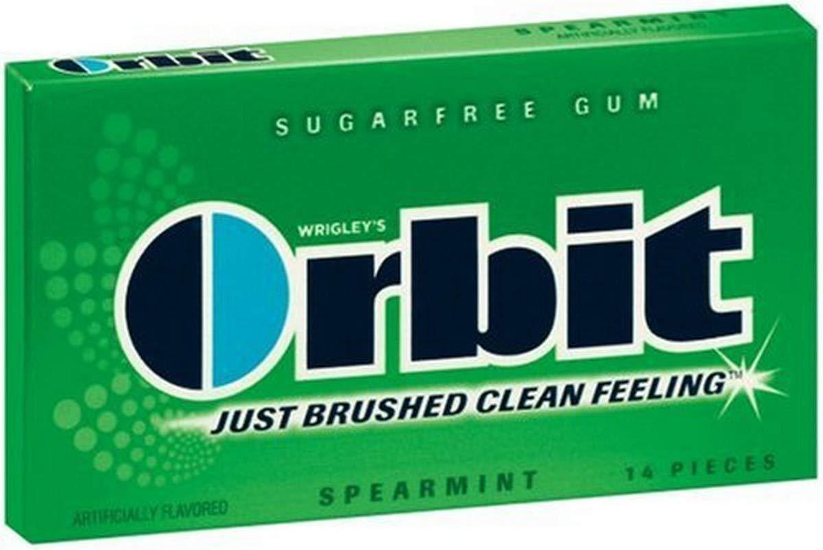 Orbit Sugarfree Gum Spearmint, 14-Piece Packs (Pack of 24)