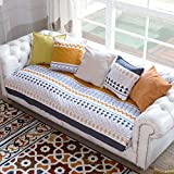 HMWPB Cotton Quilted Sofa cover Sectional Striped Sofa slipcover Anti-slip Bay window cushion cover Furniture protector-White 90x120cm(35x47inch)