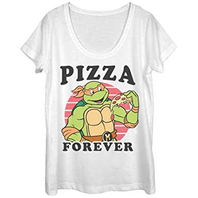 a2823c1e3 Teenage Mutant Ninja Turtles Women's Pizza Forever White Scoop Neck T-Shirt
