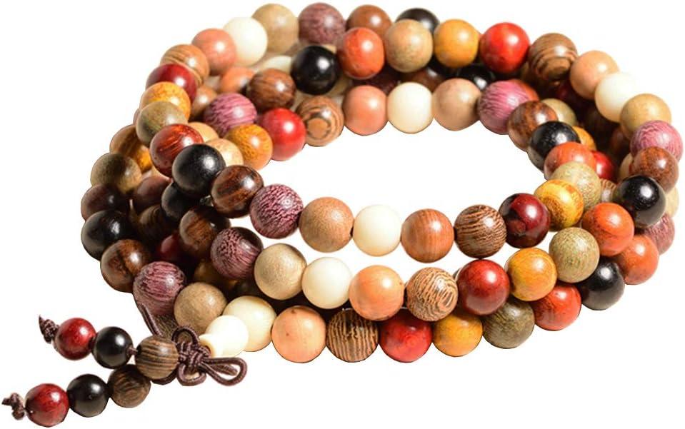 8MM Elasticas Pulsera de Cuentas de Sándalo madera perlas pulsera Oración Budista con 108 cuentas Pulsera Piedras/collar para Hombre Mujer