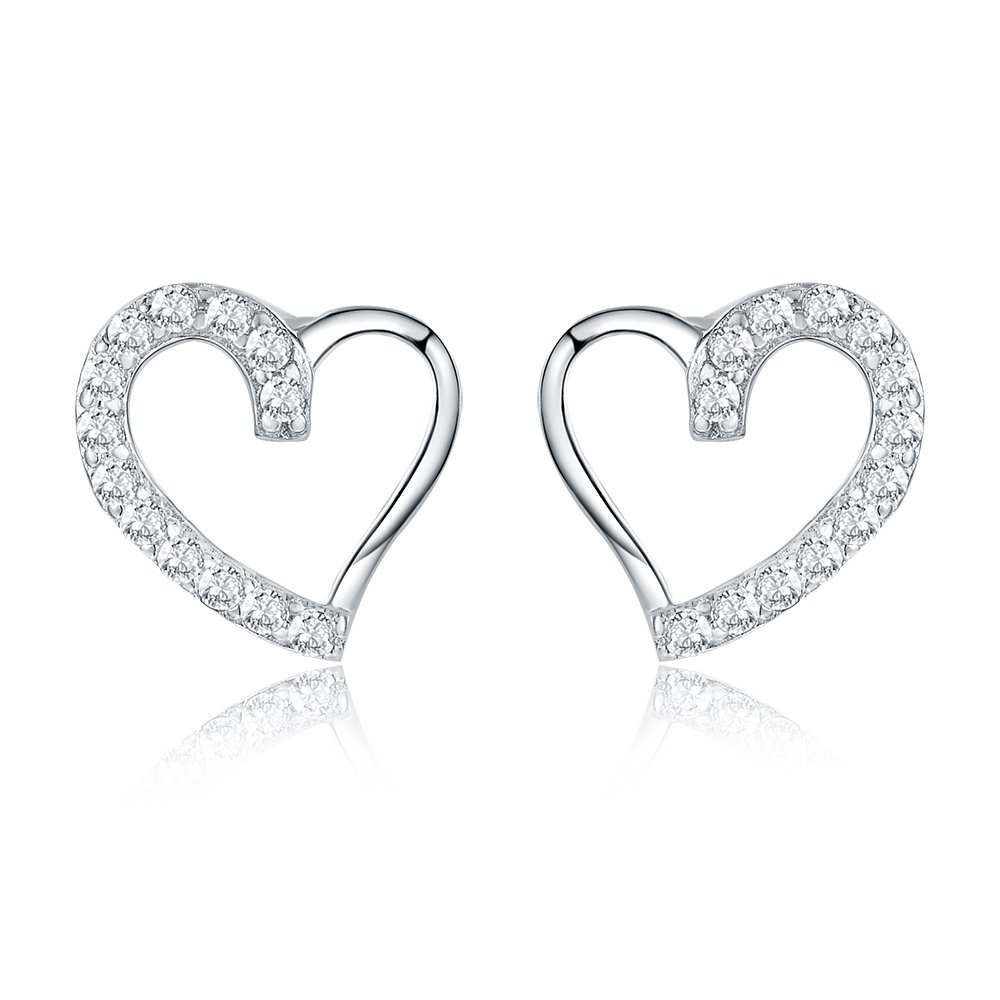 AoedeJ Open Heart Stud Earrings 925 Sterling Silver Earrings Inlay CZ Stone Girls and Women Earrings (Heart style 3)