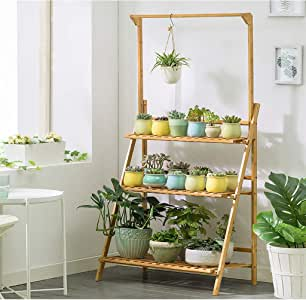Bamboo 3-Tier Hanging Plant Stand - Planter Shelves Flower Pot Organizer Storage Rack Folding Display Shelving Plants Shelf Unit Holder for Home Patio Lawn Garden Balcony - 27.6x15.7x37.8in