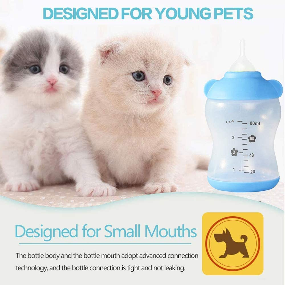Cat Nursing Bottle Puppy Milk Bottle Pet Feeding Bottle with Replacement Nipples and Cleaning Brushes for Newborn Kittens Puppies Rabbits Small Animals