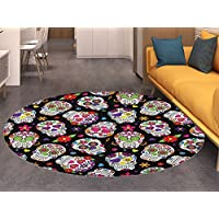 Sugar Skull small round rug Carpet Festive Graveyard Mexico Ritual Figures Mask Design on Black Backdrop Print door mat indoors Bathroom Mats Non Slip Multicolor