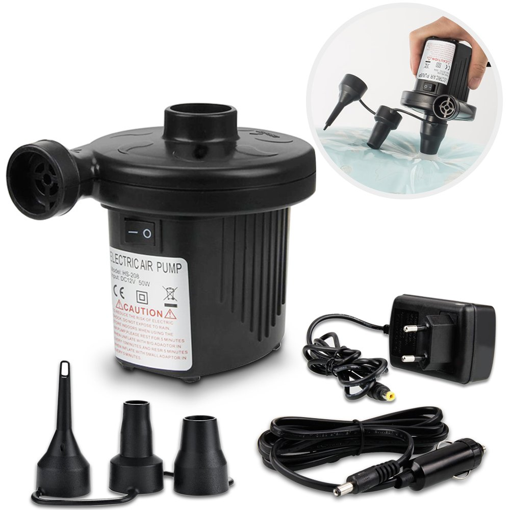 omitium Pompe à air électrique 2 en 1 Power Pump Multifonction Auto Pompe Électrique 3 Embouts pour Camping Matelas à Air Planches Plaques Plaques et Déflatteurs DC12V/AC220V