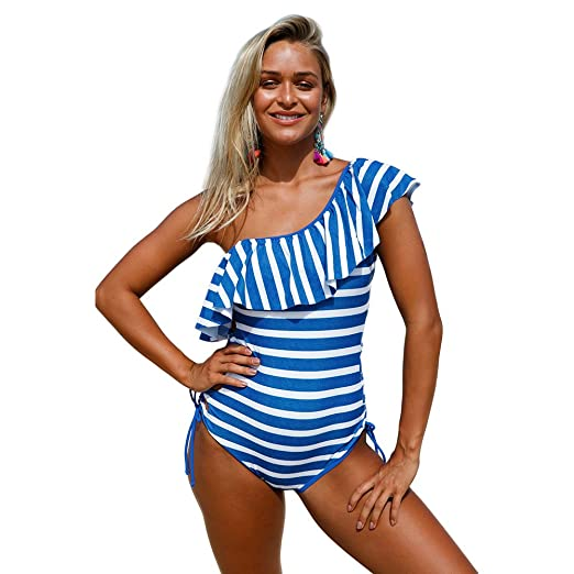 a068b1f515a Womens Sexy Blue White Stripes Ruffle One Piece Swimsuit at Amazon ...