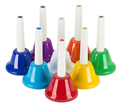 Lightwish Colorful 8 Note Diatonic Metal Hand Bells Set For Children Percussion