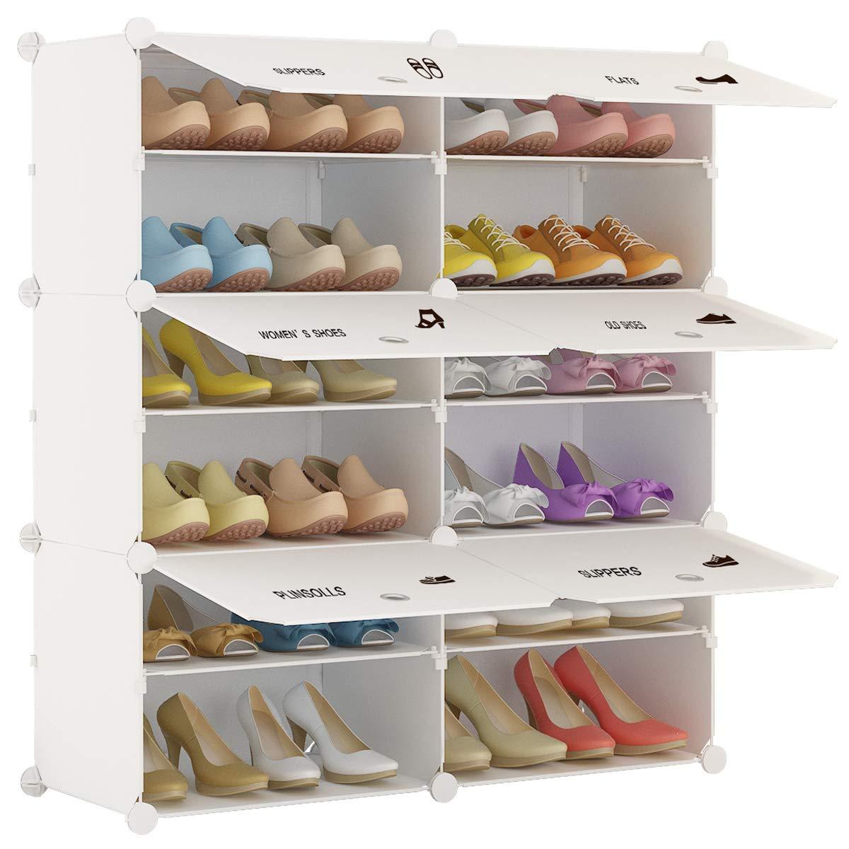 KOUSI Portable Storage Shelf Cube Shelving Bookcase Bookshelf Cubby Organizing Closet Toy Organizer Cabinet, Leaf Pattern, 12 Cubes