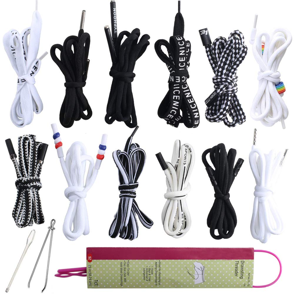 Shoe Laces ManYee 15 Pcs Hoodie Drawstrings Replacement for Sweatpants Pants Sweat Pants Shorts Strings with Drawstring Threader Use in Scrubs Jackets Tote Bags 51 Long Swim Trunks