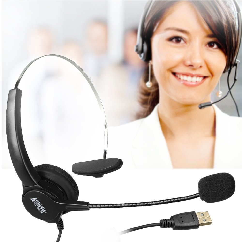 AGPtEK® Hands-free Call Center Noise Cancelling Corded Monaural Headset Headphone with Mic Mircrophone - Cord with USB Plug, Volume Control