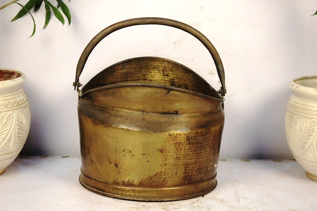 Indianshelf Handmade Bronze Bucket Medium X Statues Decoration Designer Vintage Statement Pieces Online New by Indian Shelf