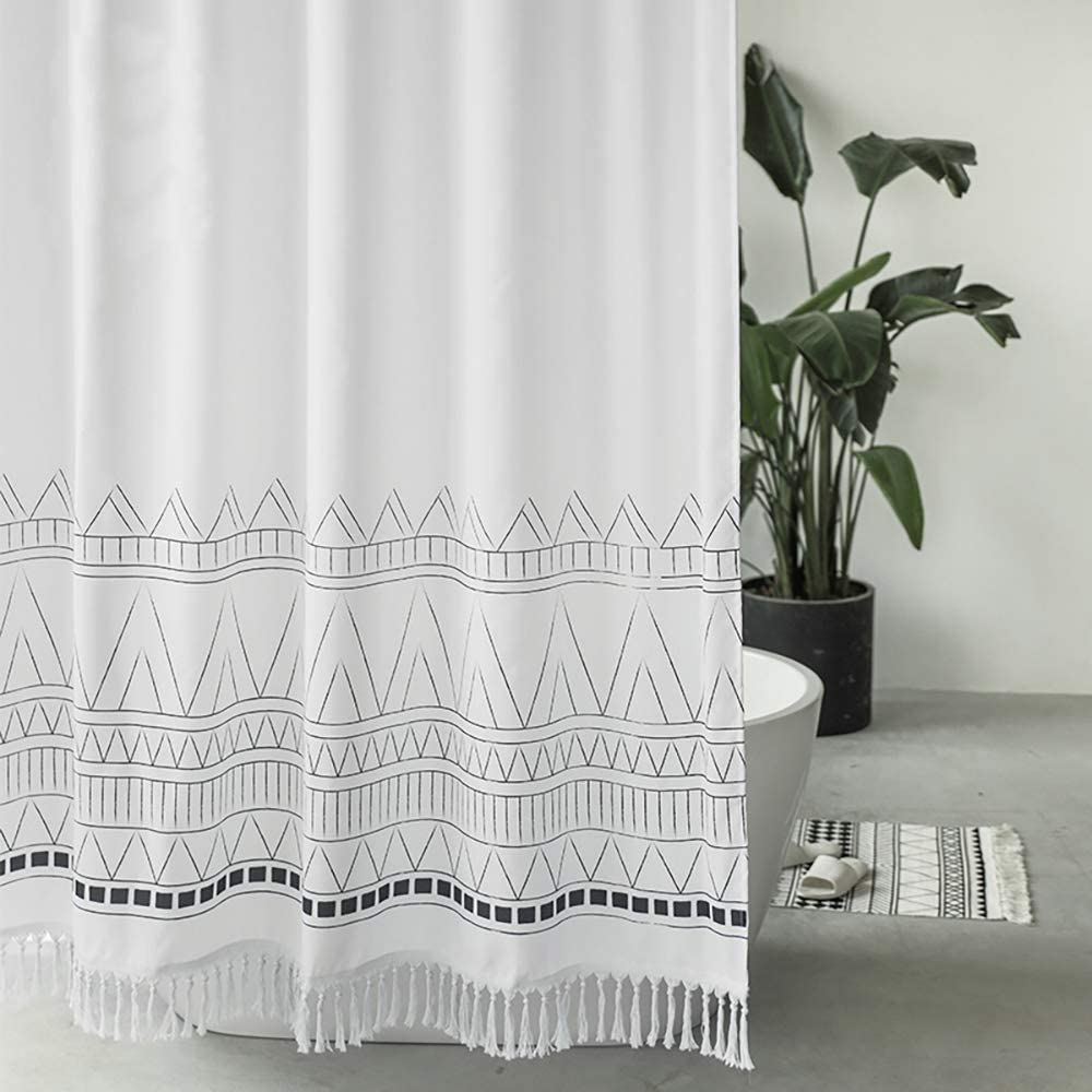 Seavish White Boho Shower Curtain, 72 x 72 Tassel Fabric Shower Curtains with Fringes,Chic Geometric Macrame Bathroom Curtains Set with Hooks, Simply Design, Heavy Weighted and Waterproof