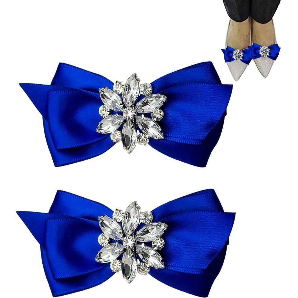 WINGOFFLY 1 Pair Decorative Rhinestone Ribbon Bow Wedding Party Shoe Clip(Royal Blue)