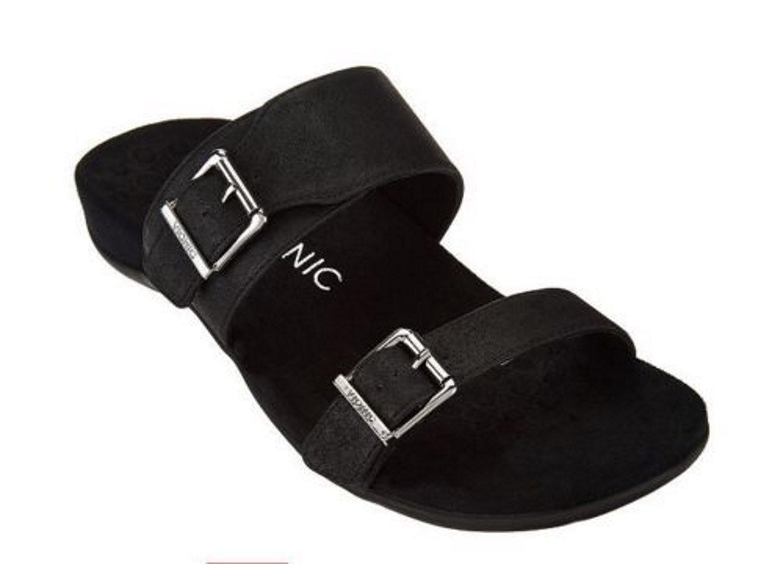 Vionic Ossa - Women's Double Strap Slide San Black Pixel - 10 Medium