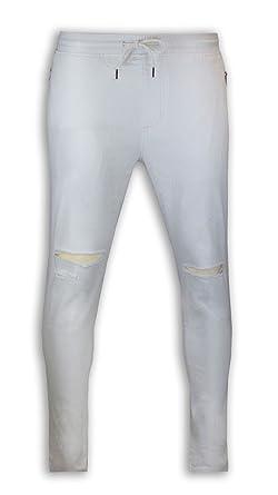 29ec9c41026343 Trending Apparel New Men White Twill Ripped Joggers Pants Jogger Stretch  Elastic Drawstrings (XL)