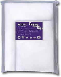 AWOLIC Vacuum Sealer Bags,100 pcs(50 Each of Gallon&Quart),BPA Free,Food Grade Food Saver Bags Suitable for Any Clamping (External Vacuum) Vacuum Food Sealer.