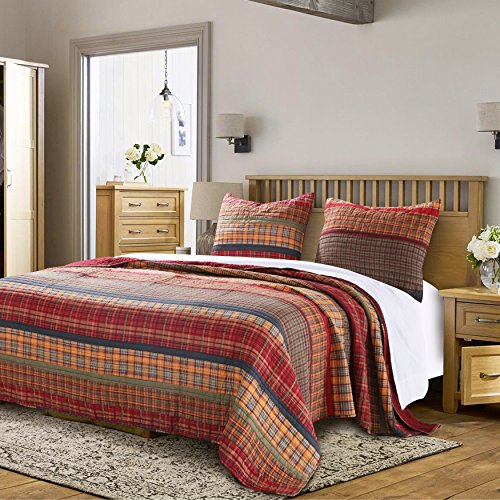 3 Piece Red Yellow Blue Green Full Queen Quilt Set, Plaid Pattern Bedding Tartan Patch Themed Checkered Cozy Stylish Cabin Lodge Cottage Warm Trendy Stripe Gold Sage Rustic Shabby Chic, Cotton Rustic Stripe