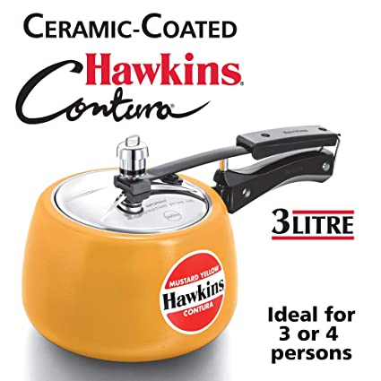 Hawkins   CMY30 Contura Ceramic Coated Pressure Cooker, 3 litres, Mustard Yellow
